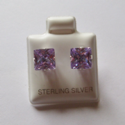 7mm square Princess cut Lavender Cubic Zirconia Sterling silver Stud earrings